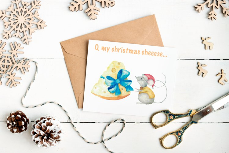 Christmas cheese. Watercolor set example image 1