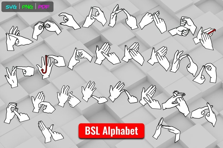 BSL ABCs White Alphabet British Sign Language SVG Cut Files