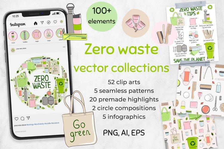 Vector zero waste set - clip arts, patterns, compositions