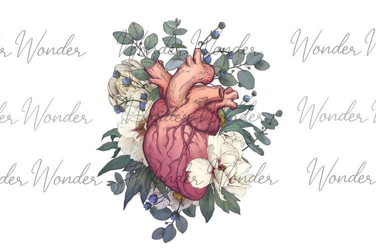 Floral Human Heart clip art, Anatomy Clipart, Graphic health