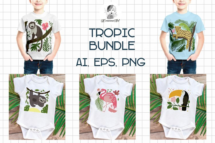 Tropical clipart, Tropical animals, Kids vector illustration