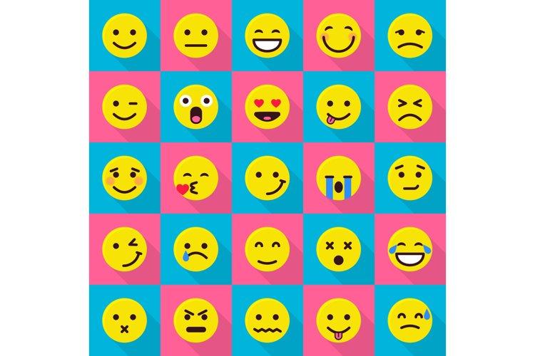 Smile emoticons icons set, flat style example image 1