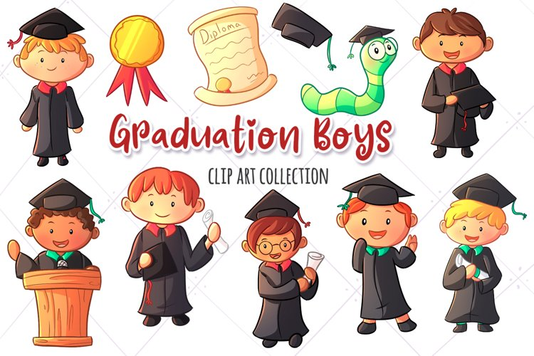 Graduation Boys Clip Art Collection example image 1