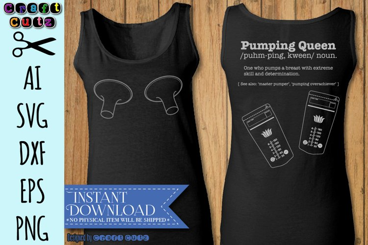 Pumping Queen SVG, Funny Breastfeeding SVG, Digital Download example image 1