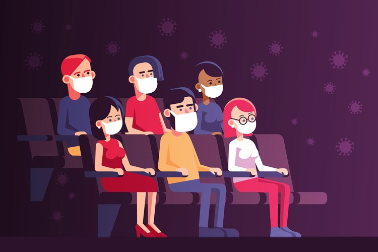 New Normal People in Mask in Cinema example image 1