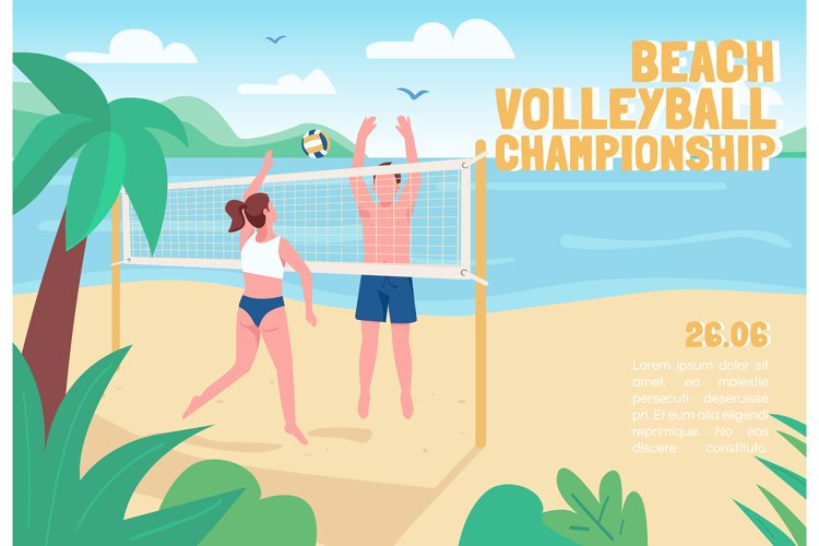 Beach volleyball championship banner flat vector template example image 1