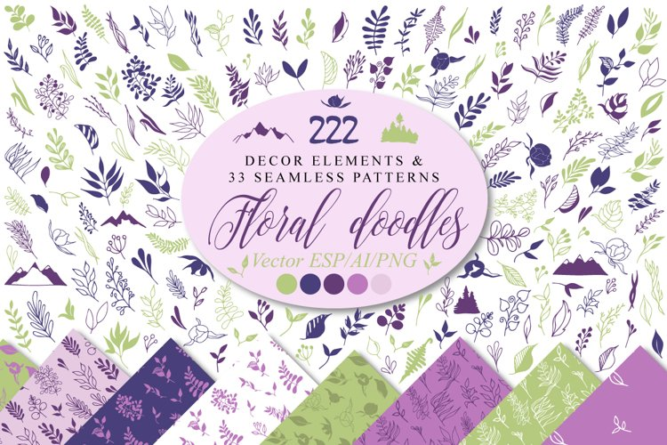 Floral doodle icons and design elements, semless patterns vector decor clipart