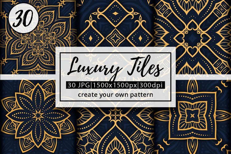Luxury Mandala Pattern Tiles | Golden arabesque background example image 1