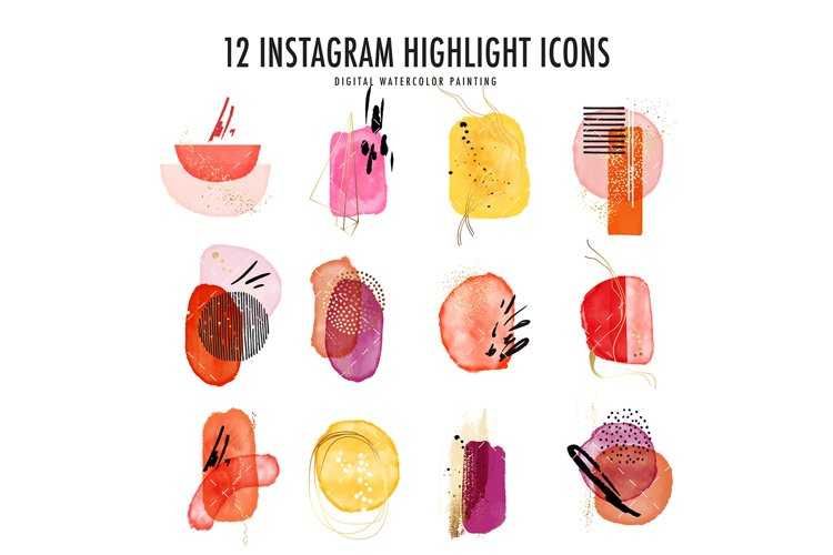 Abstract Watercolor Instagram Highlight business Icons vivid example image 1