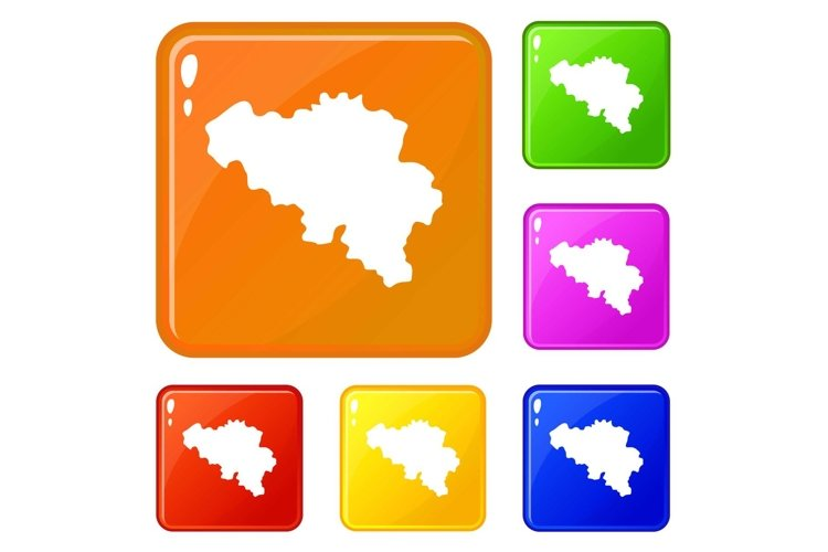 Germany map icons set vector color example image 1