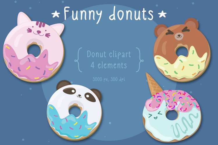 funny donuts animal cliparts