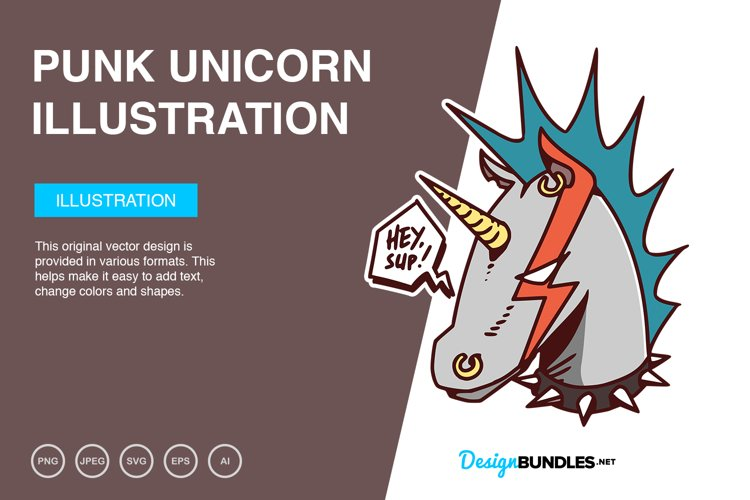 Punk Unicorn Vector Illustration