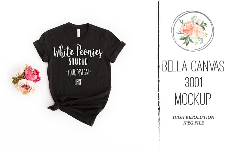 Black Bella Canvas 3001 Shirt Mockup knotted example image 1