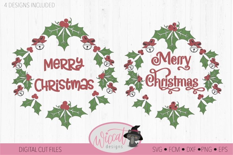 Merry Christmas wreath svg, Happy Christmas bells svg