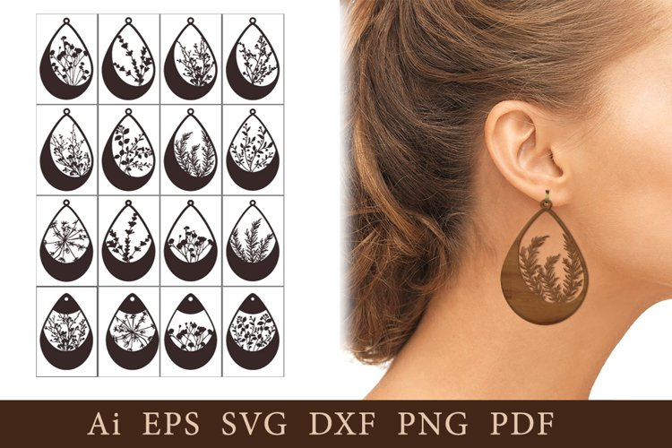 Earrings with natural elements. SVG