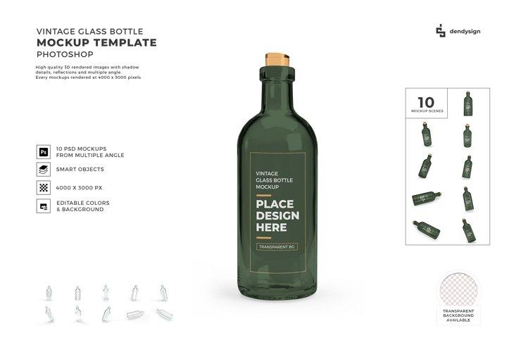 Vintage Glass Bottle Mockup Template Bundle