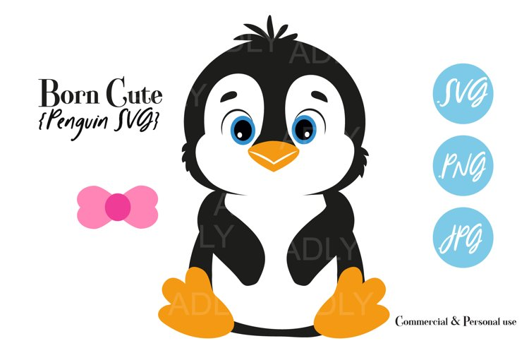 Baby Penguin Gender Neutral,Bow,Tie,ClipArt,SVG,PNG,birthday example image 1