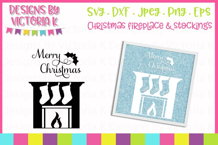 Christmas Fireplace, 3 Stockings SVG Cut File example image 1