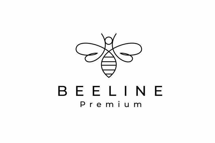 Simple Monoline Line Art Bee Logo Design example image 1