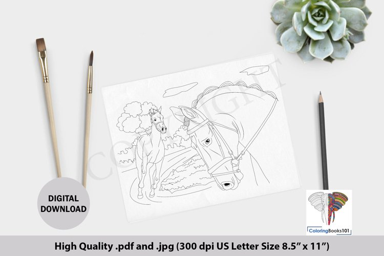 Beautiful Horse Running in the Jungle Coloring Page example image 1