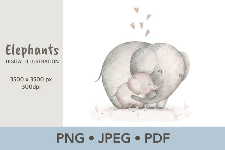 Elephant Mom and baby Sublimation design Cute animals