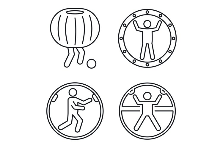 Zorb ball activity icons set, outline style example image 1