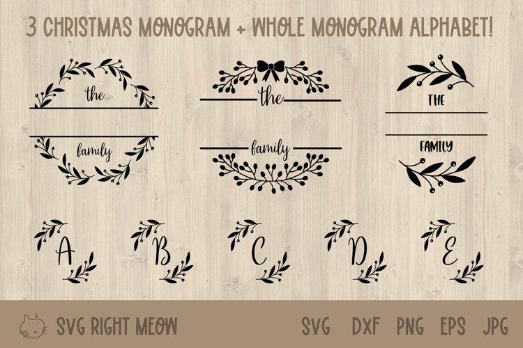 Family Monogram Bundle, Last Name Wreath Monogram example image 1