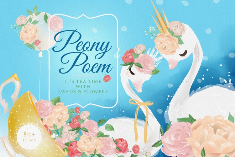 Peony Poem - Tea Time with swans & flowers example image 1