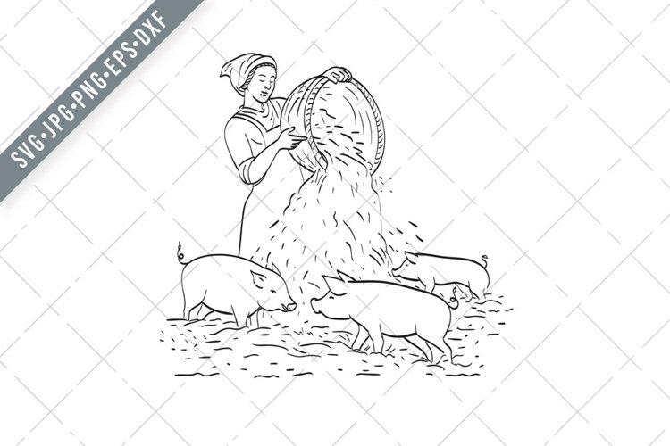 Female Peasant Farmer Feeding Pigs Line Art Drawing Black example image 1