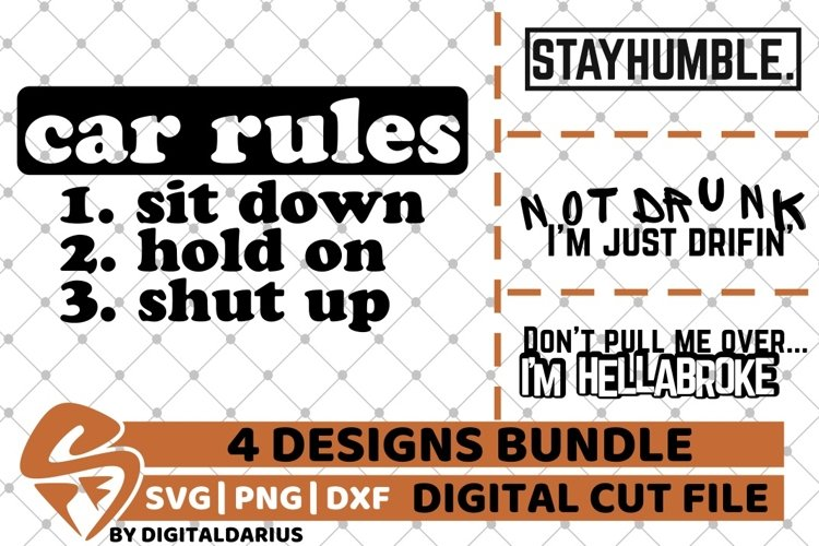 4x Car Rules Designs Bundle svg, Camping svg, Tunning, Drift example image 1