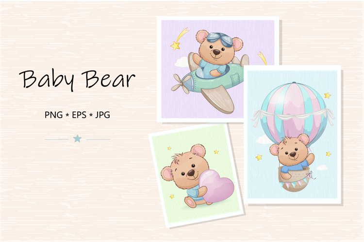 Cute little bear cartoon character. Baby bear clipart