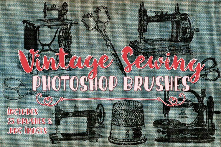 Vintage Sewing Illustrations and Photoshop Brushes example image 1