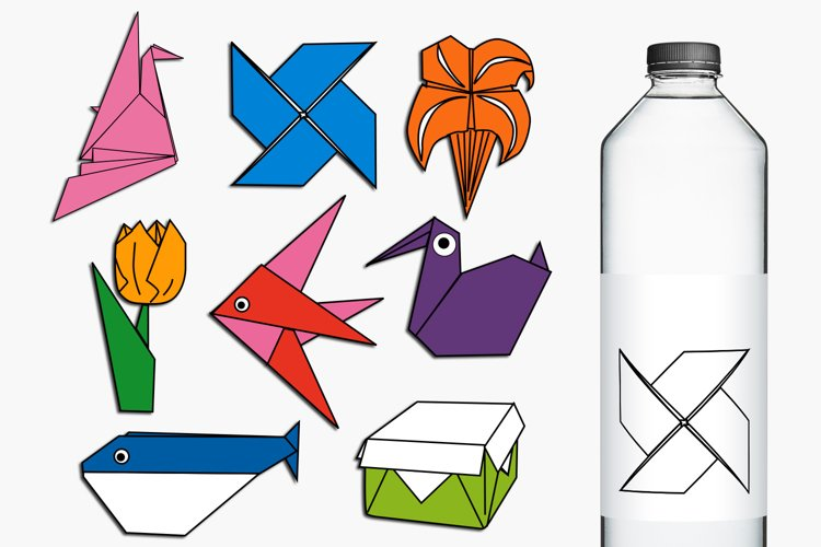 Paper Art Origami Clip Art Illustrations example image 1