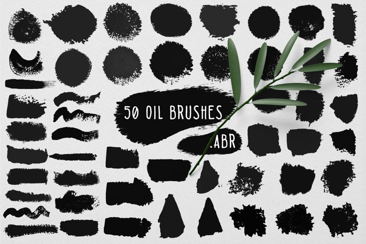 50 wet oil brushes set .ABR example image 1