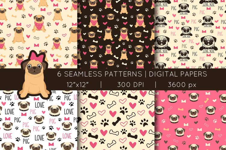 Pug Seamless Patterns   Vector files example image 1