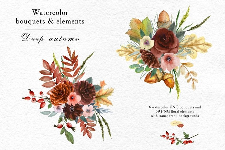 Watercolor autumn bouquets and elements example image 1