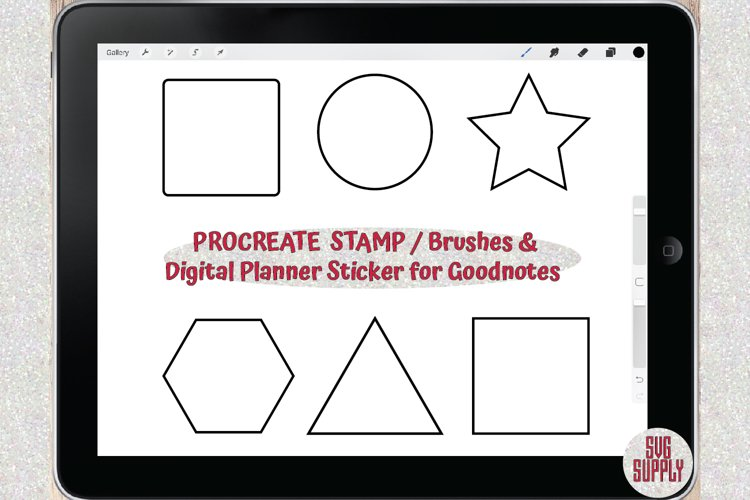 Basic Shapes PROCREATE STAMP/BRUSHES & Sticker for Goodnotes