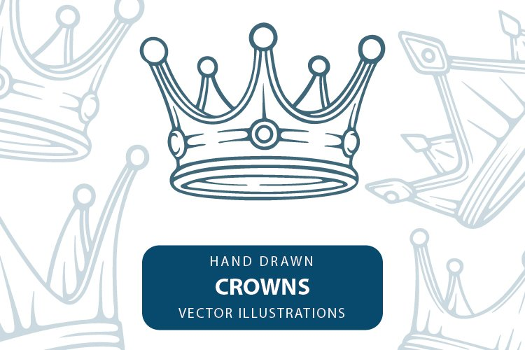 Crown hand drawn vector illustrations set. example image 1