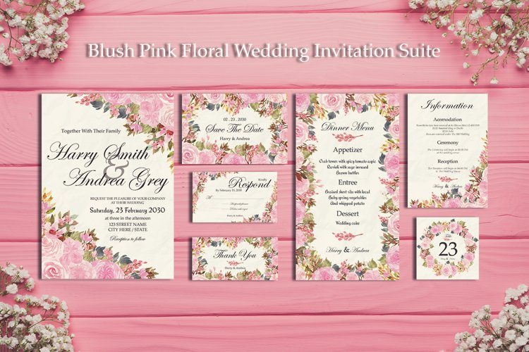 Blush Pink Floral Wedding Invitation Suite example image 1