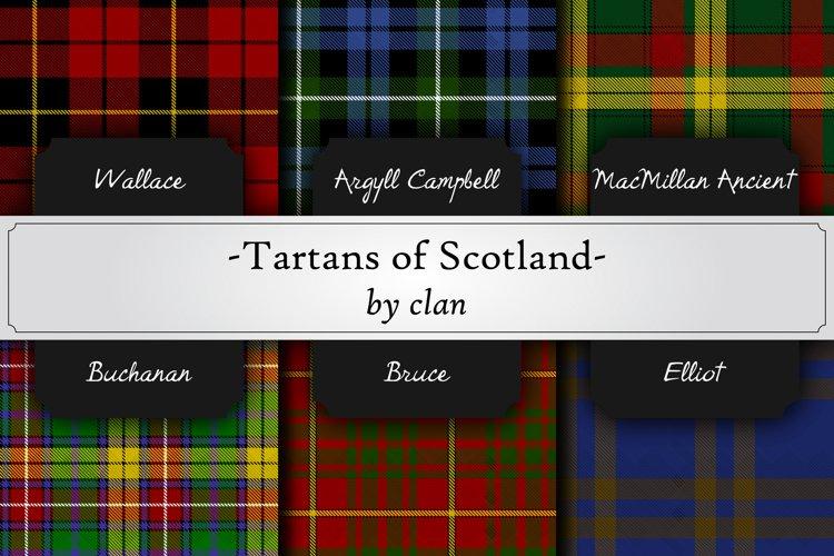 photorealistic seamless pattern of scottish tartans by clan