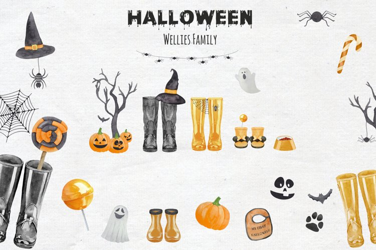 Watercolor Halloween Welly Boot Family