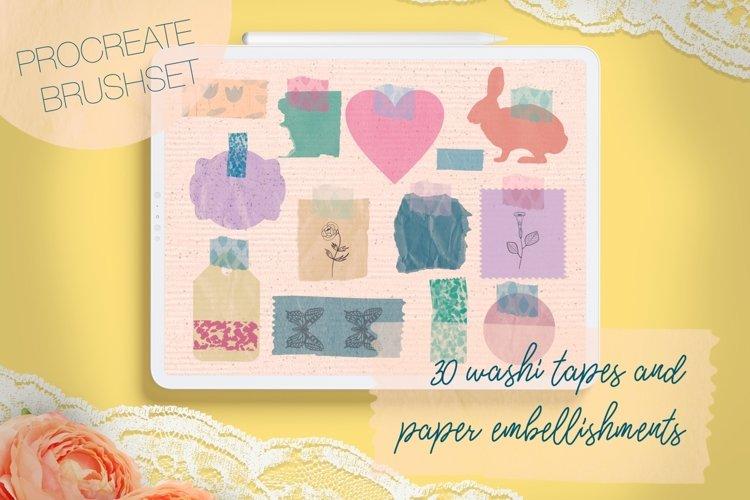 Washi Tapes and Paper Embellishments Procreate Brushes example image 1