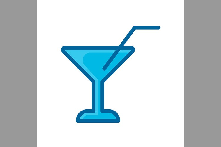 wine straw symbol blue color, Vector Illustration example image 1