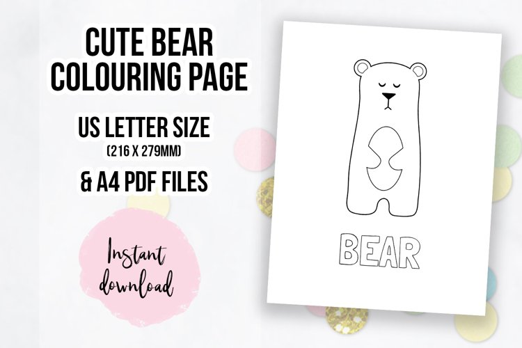 Cute Bear Coloring Page   Colouring Book Page