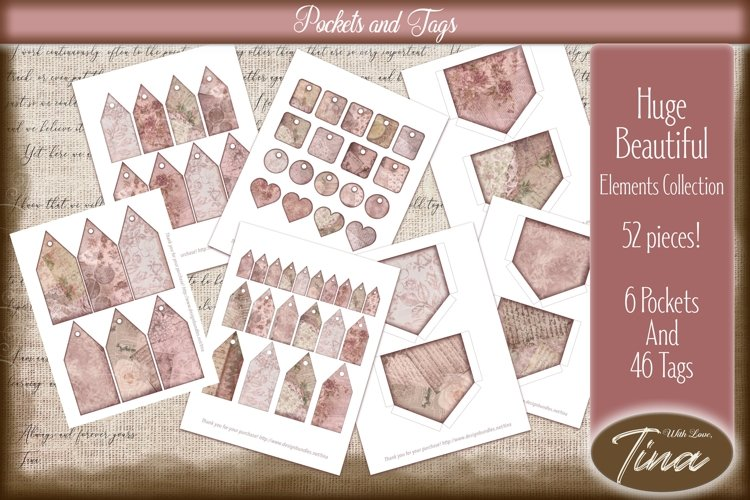 Pink Steampunk Floral Pockets and Assorted Tag Collection