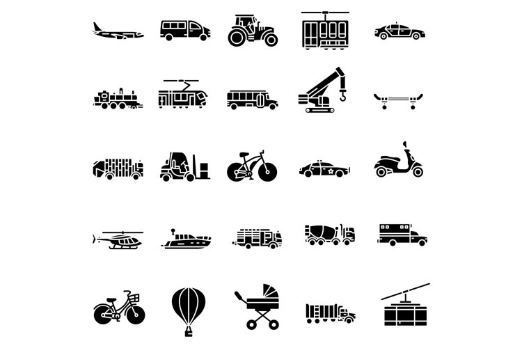 Transportation solid icons set example image 1