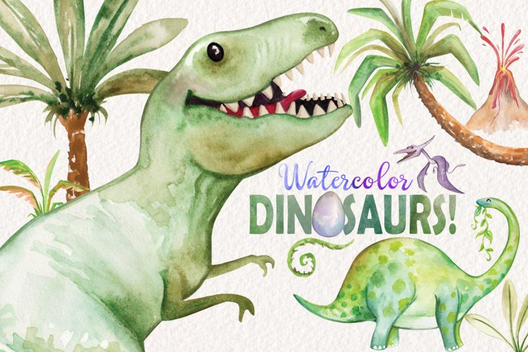 Watercolor Dinosaurs Elements example image 1
