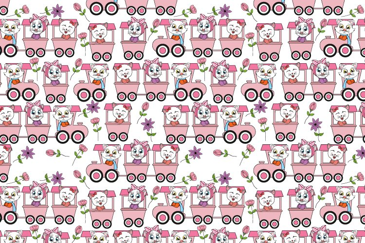 cute cat on the train seamles pattern, copy space example image 1