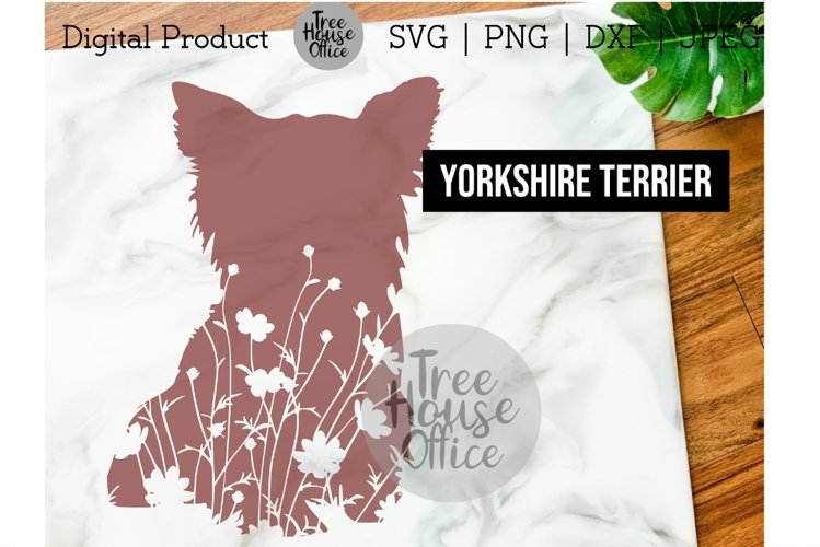 Yorkshire Terrier Floral SVG, Cute Yorkie Dog with Flowers example image 1