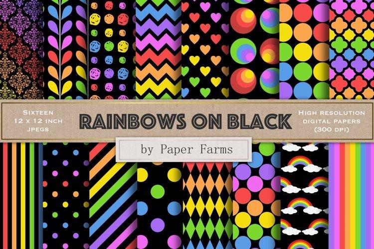 rainbow patterns black background